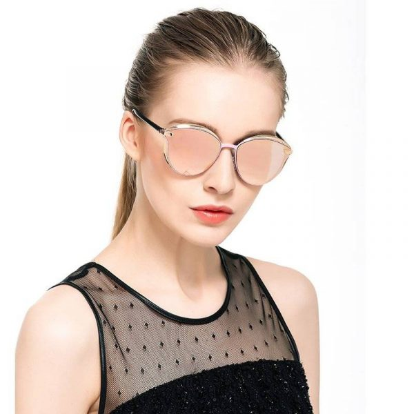 CatsEye Style Designer Vintage Retro Oversized Womens Sunglasses Mirrored
