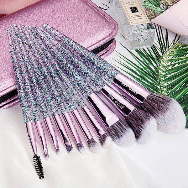 10 piece Makeup Brush Kit With Bag | Makeup Brushes Set Kit