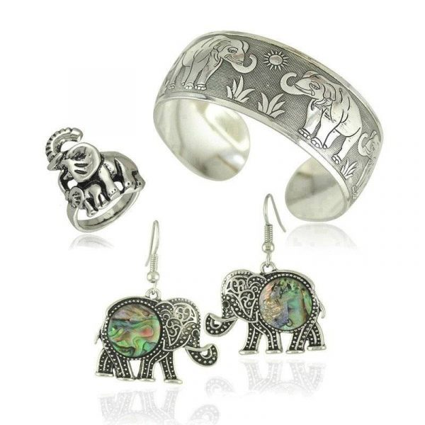 Vintage Silver Elephant Jewellery Set | Bracelet Bangle Ring and Earrings