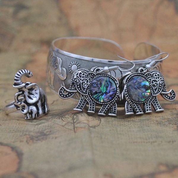 Vintage Silver Elephant Jewellery Set   Bracelet Bangle Ring and Earrings