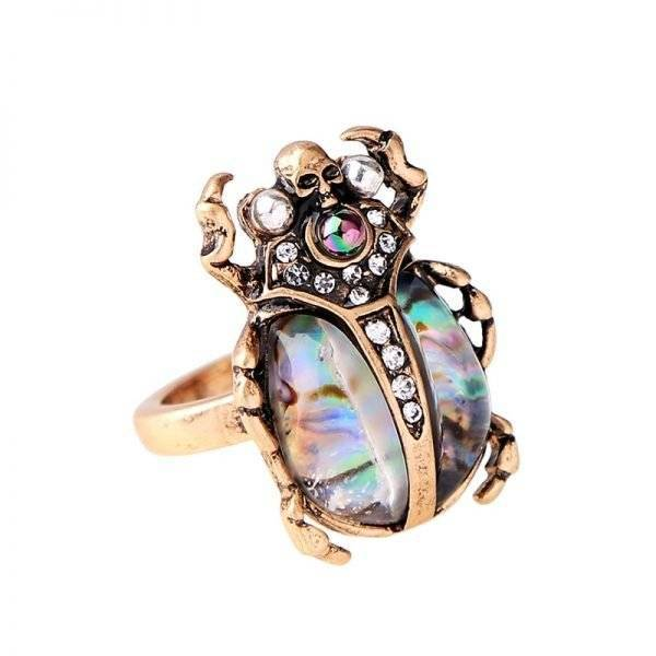 Women's Scarab Shaped Crystal Ring