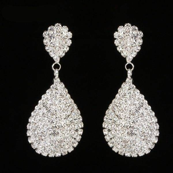 Women's Drop Shaped Crystal Earrings