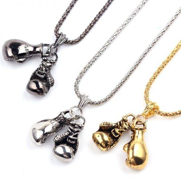 Men's Boxing Gloves Shaped Pendant Necklace