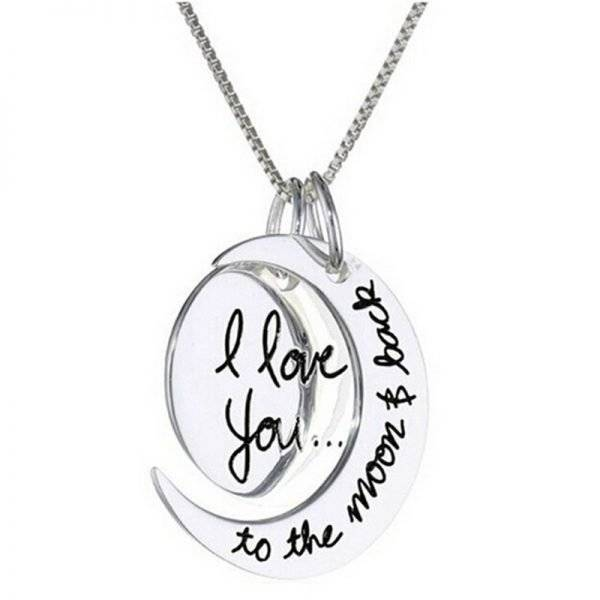 I Love You to the Moon And Back Pair Pendant Necklace