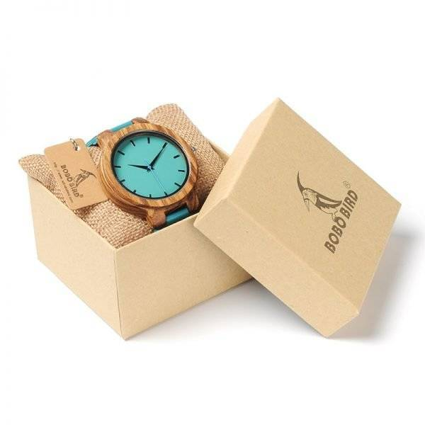 Unisex Blue Leather and Wood Watch for Lovers of Nature