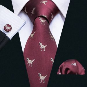 Men's Dinosaur Silk Tie Handkerchief and Cufflinks Set | Red