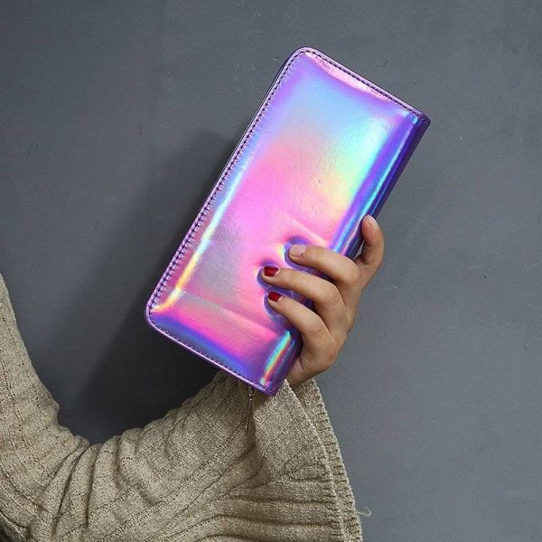 Shiny Hologram Zipper Clutch Purse