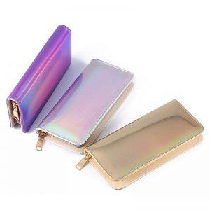 Shiny Hologram Zipper Clutch Purse