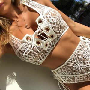 High Waist Bikini 2019 Sexy Lace Perspective Swimsuit