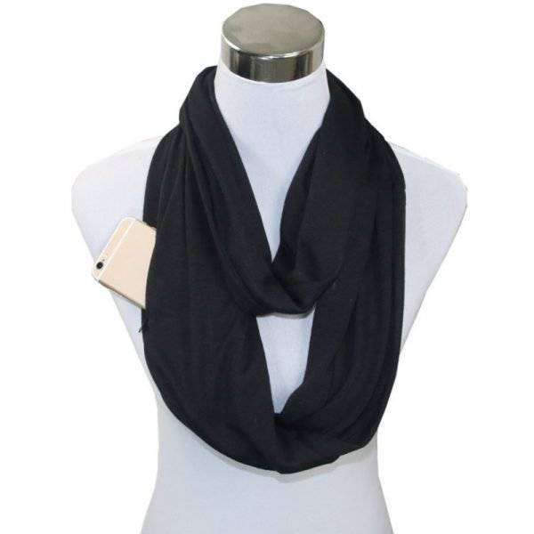 New Soft Jersey Zipped Secret Pocket Infinity Scarf