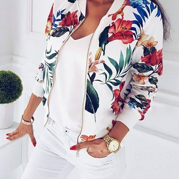 Women Floral Print Zip Up Casual Stylish Jacket
