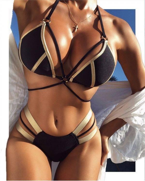 Cleopatra Women's Bandage Bikini | Black |  Beige | Pink