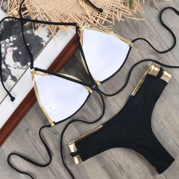 Cleopatra Women's Bandage Bikini   Black    Beige   Pink