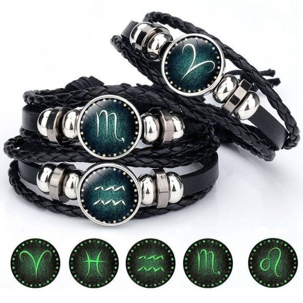 Signs of the Zodiac Luminous Decorated Leather Bracelet