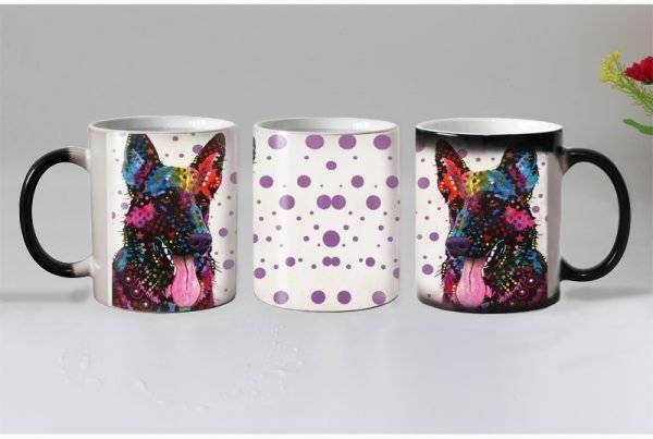 Heat Reveal Rainbow German Shepherd Mug