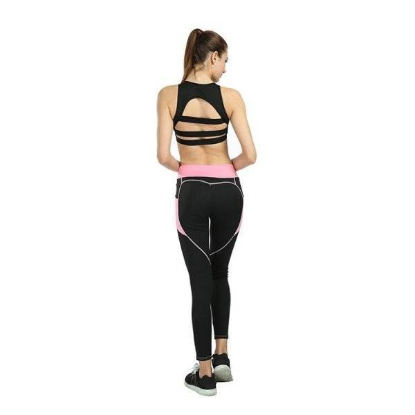Heart Design Pattern Yoga Pants | Black Leggins | With Pocket