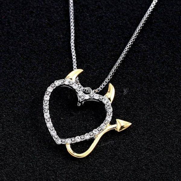 Women's Devil @ Heart Pendant Necklace