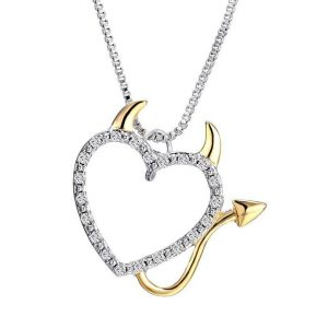 Women's Devil @ Heart Pendant Necklace