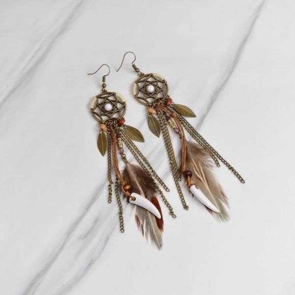 Women's Indian Dreamcatcher Boho Style Feather Earrings