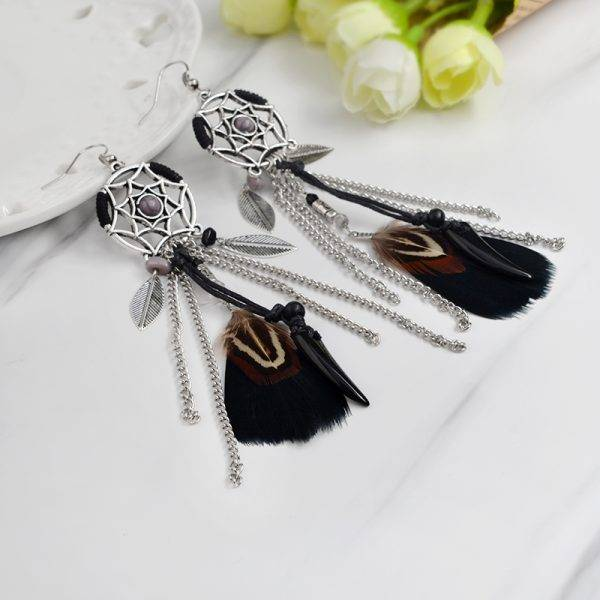 Women's Indian Dreamcatcher Boho Style Feather Earrings