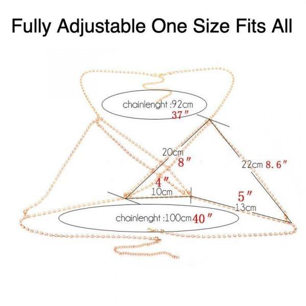 Full Rhinestone Body Chain Upper Body Necklace   Rhinestone Crystal Breast Chain