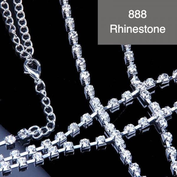Full Rhinestone Body Chain Upper Body Necklace | Rhinestone Crystal Breast Chain