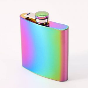 Rainbow Colored Stainless Steel Hip Flask 6oz Gadgets