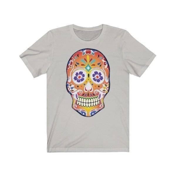 Fizzy Orange Sugar Skull Day Of The Dead (Dia De Los Muertos) Unisex Jersey Short Sleeve T Shirt