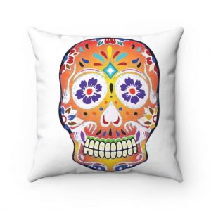 White Fizzy Orange Dios De Muerte Cushion | Sugar Skull Square Feature Pillow