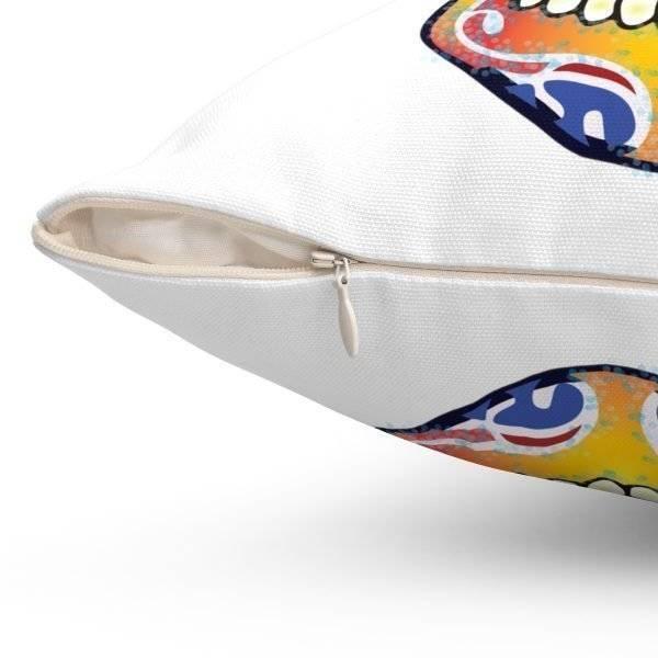 White Fizzy Orange Dios De Muerte Cushion | Sugar Skull Square Feature Pillow