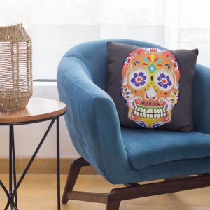 Dark Fizzy Orange Dios De Muerte Cushion | Sugar Skull Square Feature Pillow
