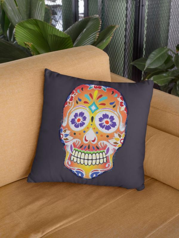 Dark Fizzy Orange Dios De Muerte Cushion | Sugar Skull Square Feature Pillow