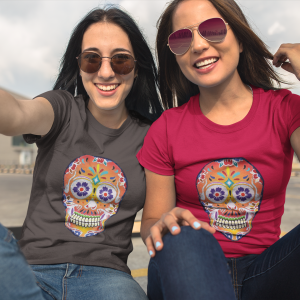 Fizzy Orange Sugar Skull Day Of The Dead (Dia De Los Muertos) Unisex Jersey Short Sleeve T Shirt