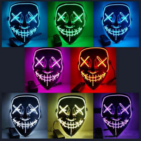 *NEW* Led Halloween Party Mask | The Purge Neon Stitches Scary Mask