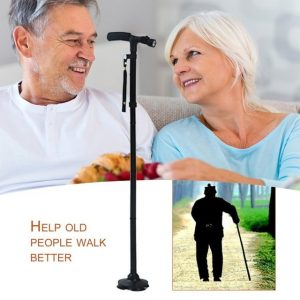Foldable Walking Stick With Attached LED Torch Light