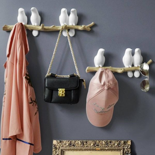 High Quality Hand Painted Resin Bird Sculpture Wall Hooks