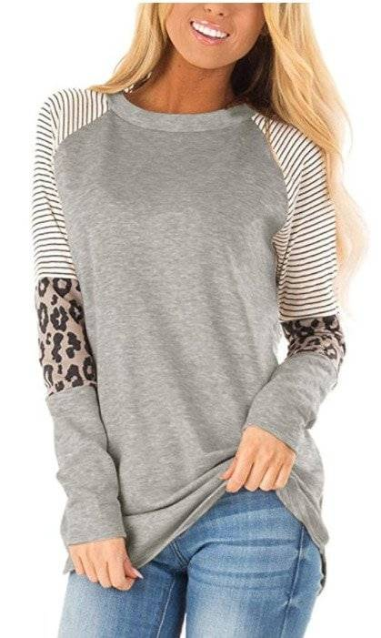 Women Striped Leopard Long Sleeve Shirt Top