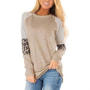 Women Striped Leopard Long Sleeve Shirt Top