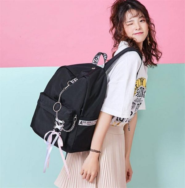 USB Charging Lace Ribbon Look Backpack   Teenagers Girls Back To School Backpack