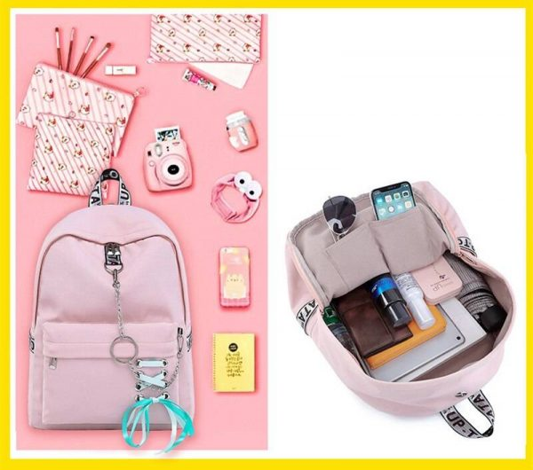 USB Charging Lace Ribbon Look Backpack | Teenagers Girls Back To School Backpack