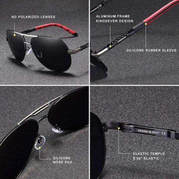 Stylish Aviator Style Sunglasses Performance Aluminum Frames Polarized UV Protection