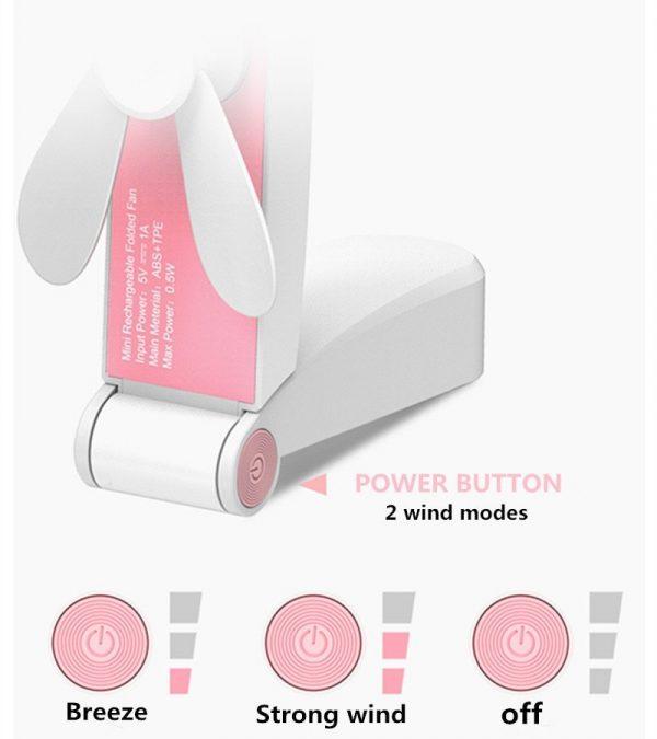 Mini Folding Pocket Fan USB Rechargeable
