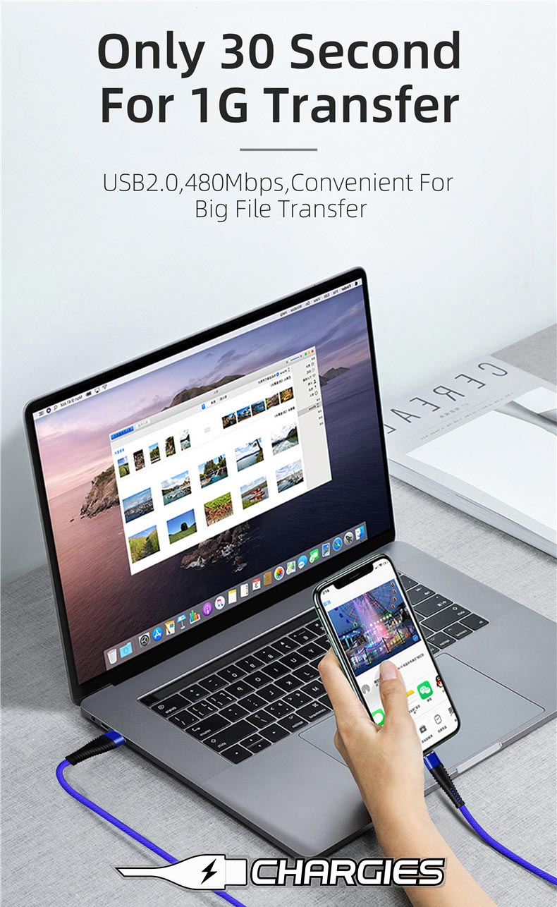 Chargies Apple Lightning Compatible USB Fast Charge Cables Premium Specification 1m + 2m Phones & Accessories