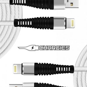 Twin Pack Chargies Apple Compatible Lightning USB Fast Charge Cables Premium Specification 1m + 2m