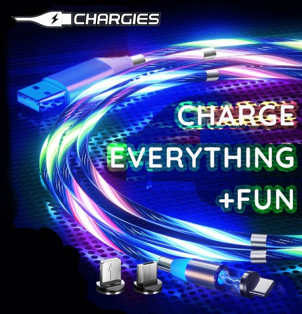 CHARGIES LED Flow Cable Magnetic Coil Up USB Charge Cable