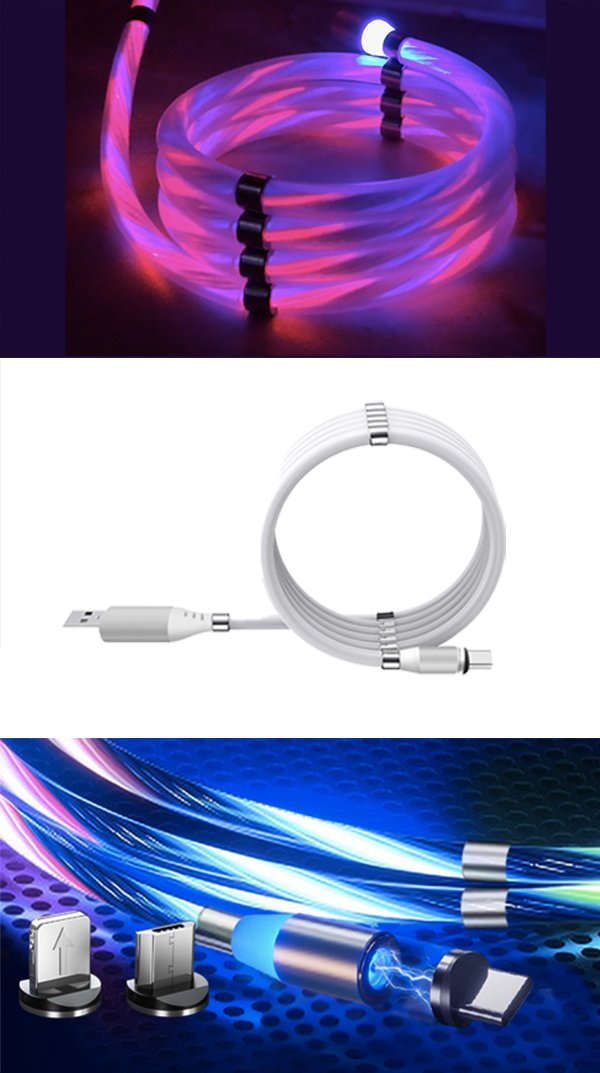 CHARGIES LED Flow Cable Magnetic Coil Up USB Charge Cable Gadgets Phones & Accessories