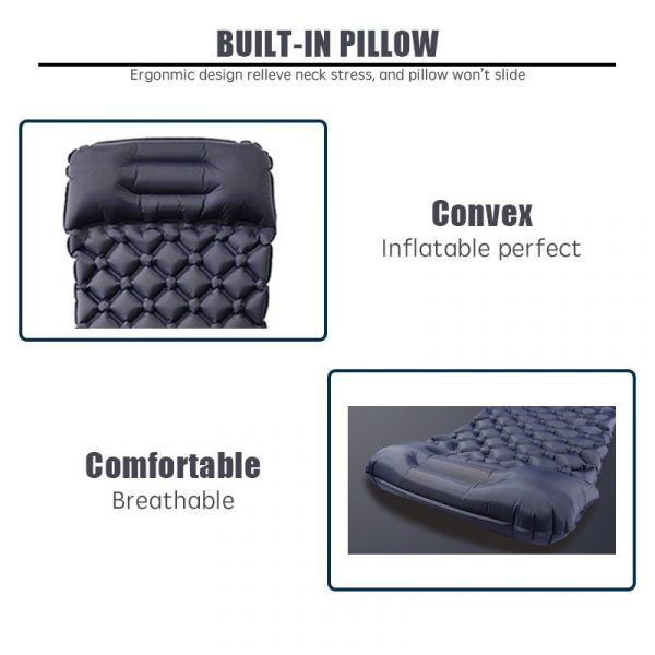 Inflatable Mattress with Pillow | Travel Mat Folding Bed Ultralight Air Cushion For Camping Hiking & Trekking