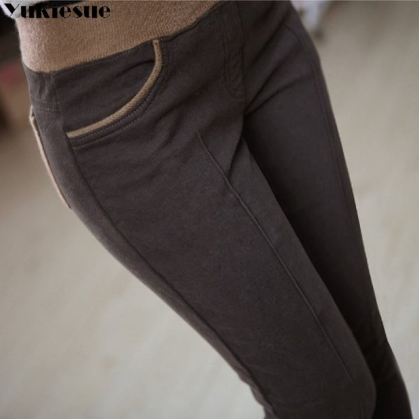 Velvet Insulated Womens Pencil Trouser With High Waist Skinny Look