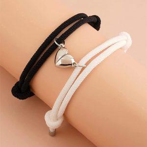 Magnetic Love Heart Bracelet Set