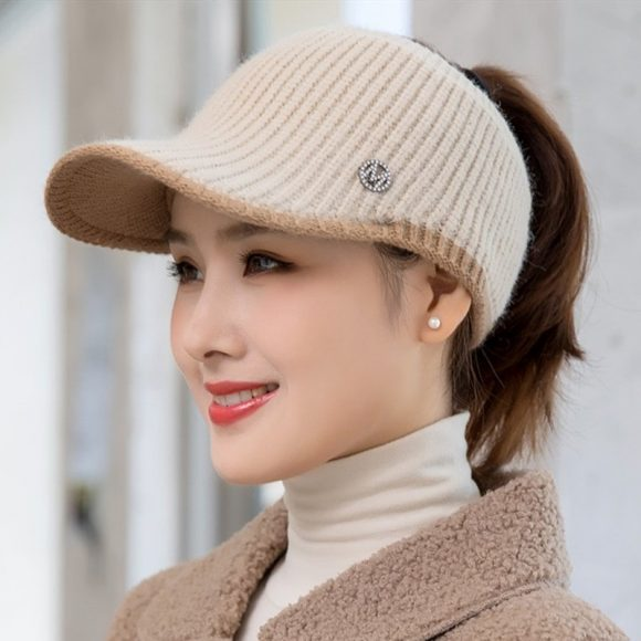 Women Crop Top Knitted Winter Hat